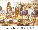friends party buffet enjoying... | Shutterstock . vector #429707476
