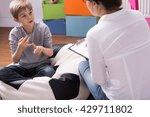shot of a little boy talking to ... | Shutterstock . vector #429711802