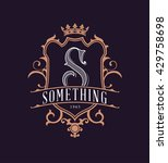 vintage logo with shield  crown ... | Shutterstock .eps vector #429758698