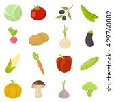 vegetable 16 vector icon set in ...   Shutterstock .eps vector #429760882