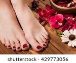beautiful classic red pedicure... | Shutterstock . vector #429773056