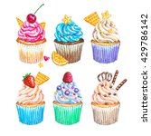 watercolor cupcakes set. hand... | Shutterstock . vector #429786142