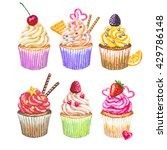 watercolor cupcakes set. hand... | Shutterstock . vector #429786148