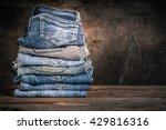 close up of many jeans trouser...   Shutterstock . vector #429816316