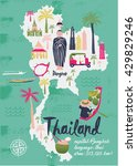cartoon map of thailand. print... | Shutterstock .eps vector #429829246