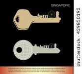 landmarks of singapore | Shutterstock .eps vector #429850192