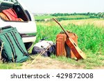travel suitcases guitar and... | Shutterstock . vector #429872008