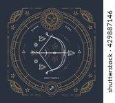 vintage thin line sagittarius... | Shutterstock .eps vector #429887146
