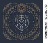 vintage thin line leo zodiac...   Shutterstock .eps vector #429887242