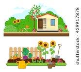 gardening set. illustrations... | Shutterstock . vector #429917878
