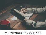 home office desk background ... | Shutterstock . vector #429941548