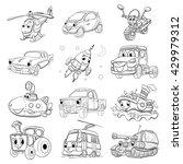 set of fanny cartoon transport. ... | Shutterstock .eps vector #429979312