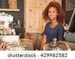 working in this cafe is my bliss | Shutterstock . vector #429982582