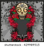 card with mexican skull  | Shutterstock . vector #429989515