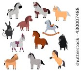 Stock vector smiling cartoon horses on white background and cartoon horse vector set 430007488