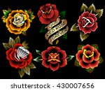traditional tattoo flowers set... | Shutterstock .eps vector #430007656