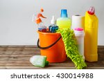 bucket with cleaning items on... | Shutterstock . vector #430014988