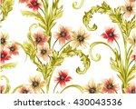 pattern with narcissus flowers... | Shutterstock .eps vector #430043536