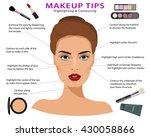 set of makeup tips. detailed... | Shutterstock .eps vector #430058866