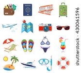 vacation and tourism flat icons ... | Shutterstock .eps vector #430061596