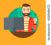 a hipster man with the beard... | Shutterstock .eps vector #430068472