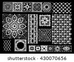 set of isolated knitted lace...