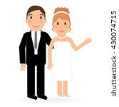 the groom embraces the bride.... | Shutterstock .eps vector #430074715