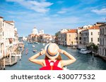 view on grand canal with woman... | Shutterstock . vector #430077532