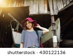 funny hipster girl in old boat... | Shutterstock . vector #430122136