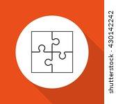 four piece flat puzzle round... | Shutterstock . vector #430142242