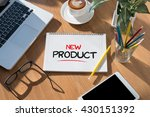 new product open book on table... | Shutterstock . vector #430151392