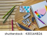 notebook pencils color pencils... | Shutterstock . vector #430164826