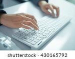 business woman hand typing on... | Shutterstock . vector #430165792