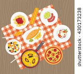 catering service. flat european ...   Shutterstock . vector #430173238