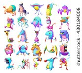 25 colorful creatures. monster... | Shutterstock . vector #430184008