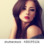 beautiful woman with bright... | Shutterstock . vector #430195126