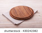 pizza board with a napkin on... | Shutterstock . vector #430242382