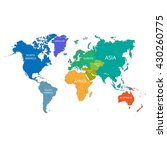 world map with the names of the ... | Shutterstock .eps vector #430260775
