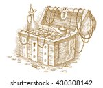treasure chest drawn by hand | Shutterstock .eps vector #430308142