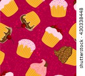 seamless pattern cupcakes with... | Shutterstock .eps vector #430338448