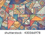 Stock vector patchwork pattern vintage decorative elements hand drawn background islam arabic indian 430366978