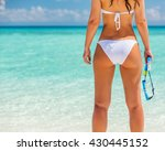 back of young woman in bikini... | Shutterstock . vector #430445152