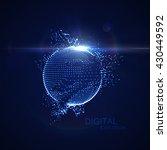 3d illuminated distorted sphere ... | Shutterstock .eps vector #430449592