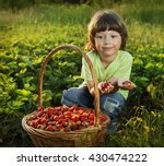 cheerful boy with basket of... | Shutterstock . vector #430474222