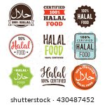 halal food labels vector set.... | Shutterstock .eps vector #430487452