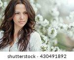 beautiful spring girl in... | Shutterstock . vector #430491892