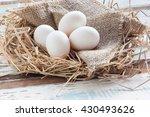 organic white eggs on vintage... | Shutterstock . vector #430493626