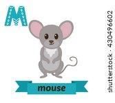 Mouse. M Letter. Cute Children...
