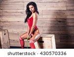 fitness girl in the gym   Shutterstock . vector #430570336