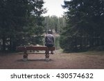 Lonely Man Sitting On Bench At...